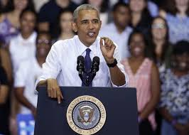 c u0027mon man u0027 obama tells voters to get serious trump clinton fire