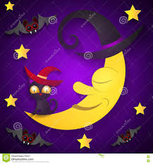 cat halloween background images halloween background with moon in the purple sky stock vector