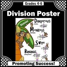 long division poster monkey math anchor chart back to