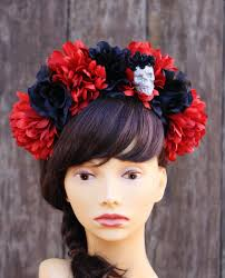 day of the dead headband items similar to dia de los muertos headband skull flower crown