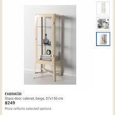 ikea fabrikor reserved fabrikor ikea glass display cabinet beige vintage retro