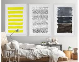 Interior Design Wall Hangings by Yellow Gray Wall Art Etsy