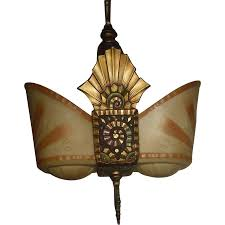 Art Deco Ceiling Lamp Beardslee Art Deco Slip Shade Pendant Light From