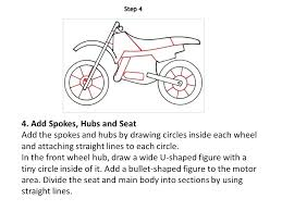 how to draw a motorbike 1 draw the outline draw two circles to