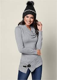 cowl sweater venus buckle detail cowl sweater in grey