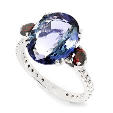 diamond red rings images Gia tanzanite 3 stone ring with fancy red diamonds 14k white gold jpg