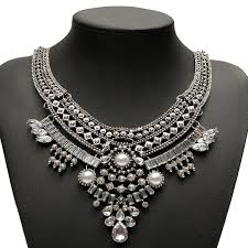chunky pearl crystal necklace images Punk pearl crystal rhinestone chunky choker bib statement necklace jpg