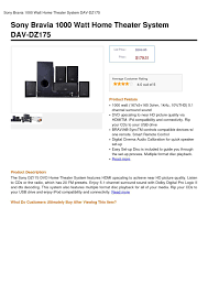 sony 1000 watt home theater system calaméo sony bravia 1000 watt home theater system dav dz175