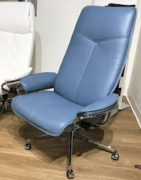 Stressless City High Back Office Desk Chair in Paloma Sparrow Blue