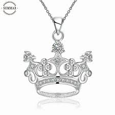 queen hat tattoo hot selling silver plated necklaces crown queen s hat zircon pendant