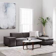 west elm reclining sofa enzo leather reclining 3 seater sectional with storage chaise west elm