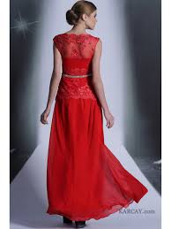 line red long beaded chiffon and lace evening formal prom party