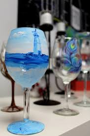 wine glass painting lighthouse and peacock feather wine glass painting st mary u0027s