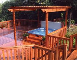 outdoor deck with pergola and tub amazing outdoor tub