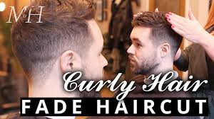 haircuts for men with wiry hair men s fade haircut for curly hair youtube