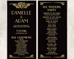 deco wedding program deco roaring twenties vintage great gatsby