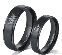 couples rings set images King and queen black couples ring set with high polish matte jpg