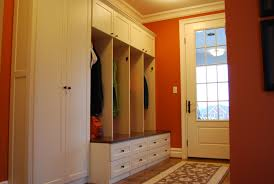 Home Plans With Mudroom by Furniture White Wooden Locker With Open Shelf And Hook Plus Brown