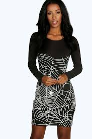 Glow In The Dark Halloween Shirts by Natasha Halloween Glow In Dark Spider Bodycon Dress Boohoo