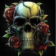 buy skull roses paintings and get free shipping on aliexpress com