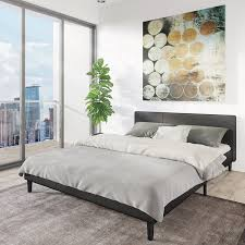 amazon com manhattan queen bed frame modern style low profile