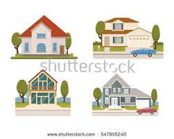 vector flat set country houses chalet stock vector 547855240