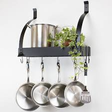 kitchen design ideas all bars pot rack classic metal black wall