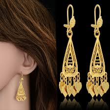 new fashion gold earrings brand new trendy indian jewelry gold plated heart earrings 18k color