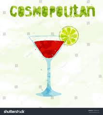cosmopolitan cocktail cosmopolitan cocktail slice lime stock vector 228899746 shutterstock