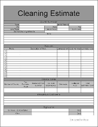 cleaning estimate template cleaning business estimate form free