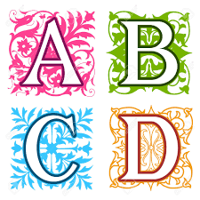 all letter in different designs decorative a b c d alphabet