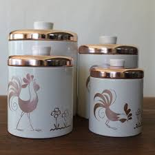 vintage canister set ransburg rooster copper canisters set of 4 vintage canister set ransburg rooster copper canisters set of 4 22 50 via etsy
