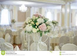 roses peony flower arrangement white gold color decoration stock