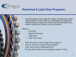 what is light duty work ppt how to properly manage workplace injuries to the benefit of