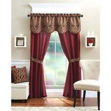 window 5 piece curtain set 2 panels valance assorted colors home