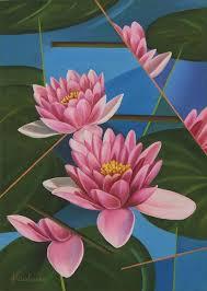 cubism flower painting signed painting pink lotus flowers brazil modern lotus