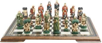 amazon chess set robin hood chess set handmade and hand painted 4 5 inches