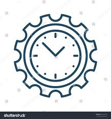 clock inside gear vector icon meaning stock vector 624147422