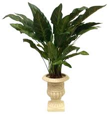 Silk Flower Depot - elephant ear bush in a grecian urn traditional plants by