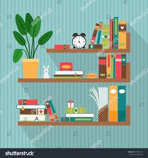 Bookshelves Library Vector Books On Bookshelves Library Literature Stock Vector