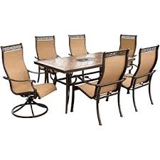 High Back Sling Patio Chairs by Amazon Com Hanover Monaco7pcsw Monaco 7 Piece High Back Sling