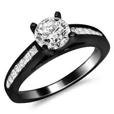 black black gold engagement rings 14k black gold channel set engagement ring