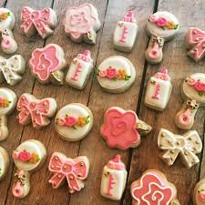 gold and pink baby shower mini gold and pink baby shower cookies hayley cakes and cookies