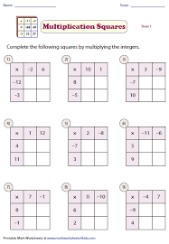 multiplying and dividing integers worksheets