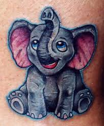 sweet small baby elephant tattoo design made by ink