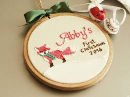 pink fox ornament baby u0027s first christmas embroidery