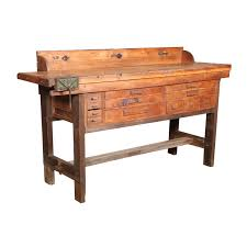 Work Bench With Vice Original Vintage American Made Oak Work Bench With Vice Bench