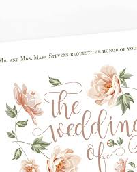 blush flowers wedding invitation papersizzle