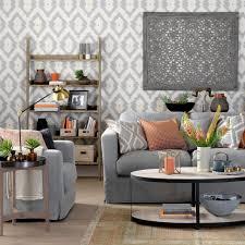 coffee table grey living room living room gray damask wallpaper wood rack display gray fabric