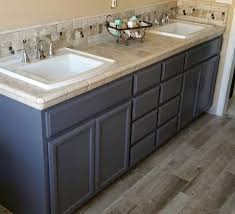 master bath cabinets done in general finishes driftwood milk paint
